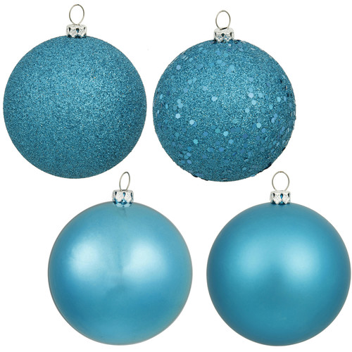 "Vickerman 4"" Turquoise 4-Finish Ball Ornament Assortment, Set of 12"