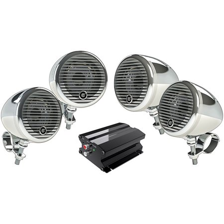 Planet Audio PMC4C Planet Motorcycle/atv Sound System With Bluetooth 2 Pairs Of 3