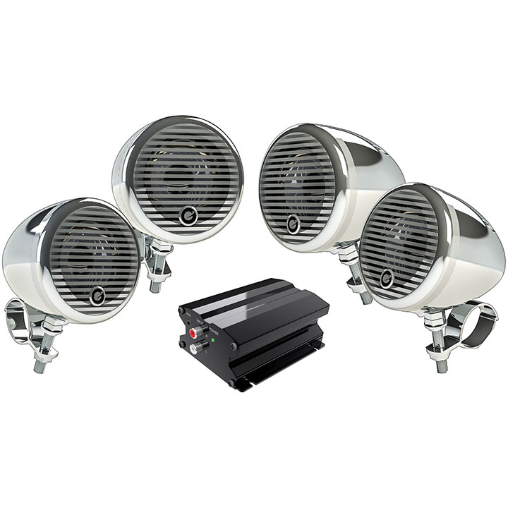 "Planet Audio PMC4C Planet Motorcycle/atv Sound System With Bluetooth 2 Pairs Of 3"" Weather Proof Chrome Speakers Amp"