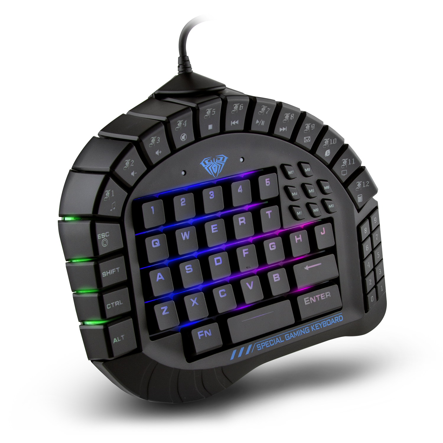 8080f1f9e67 AULA Excalibur Master One-hand Gaming Keyboard Removable Hand Rest RGB  Backlight Mechanical Keyboard - Walmart.com