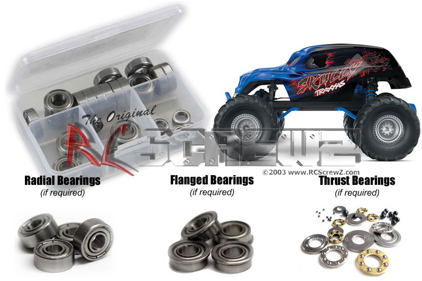 RC Screwz Metal Shielded Bearing Kit for Traxxas Skully Monster Truck #tra057b by RCScrewZ