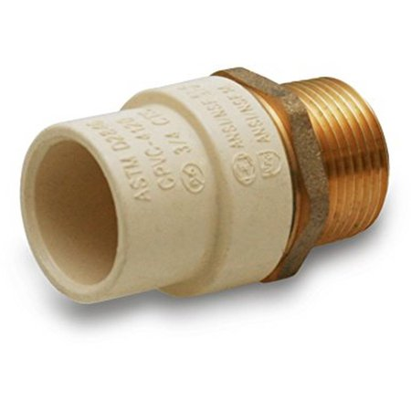 """Everflow Supplies BRCPM100-NL 1"""" Lead Free Adapter Fitting with a Brass Male and a CPVC Connect"""