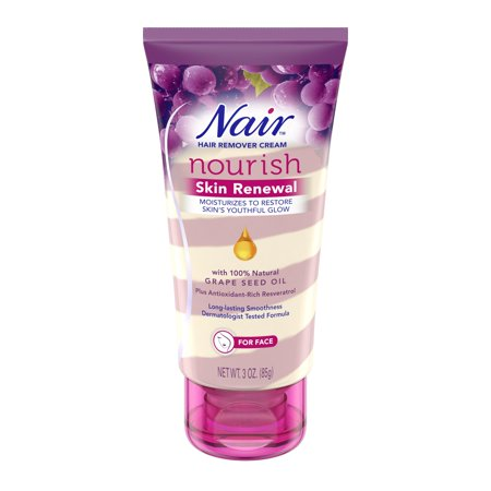 Nair Nourish Skin Renewal Face Hair Remover Cream, 3 oz.