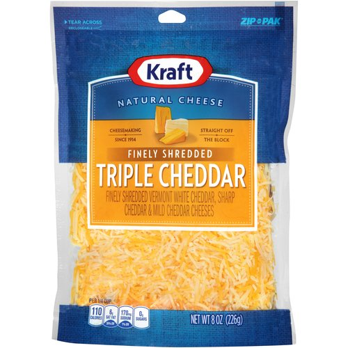 Kraft Finely Shredded Triple Cheddar Cheese, 8 oz