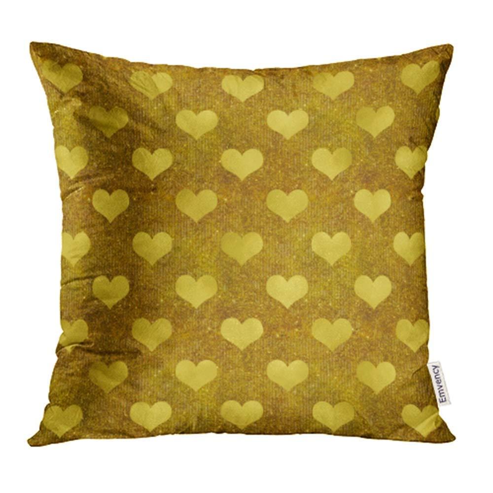 USART Glitter Faux Gold Foil Metallic Pattern Shiny Heart Sparkle Pillowcase Cushion Cases 16x16 inch