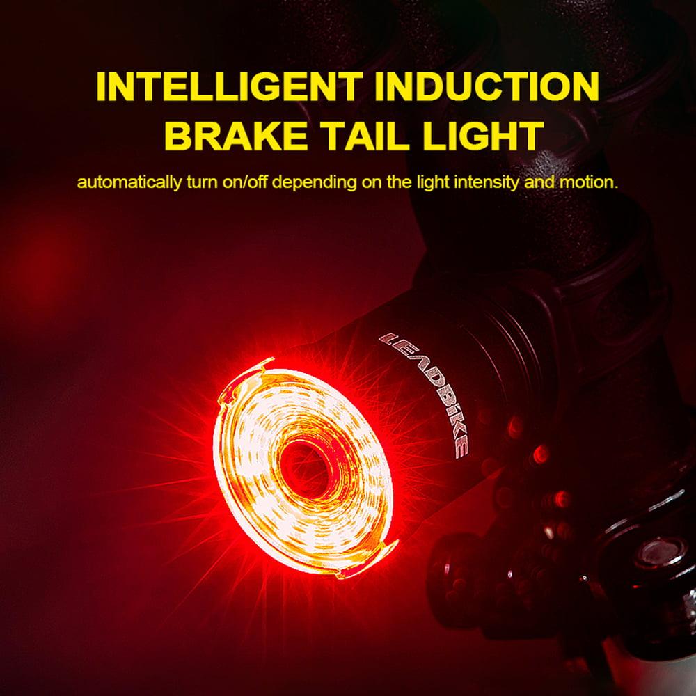 Intelligent Brake Sensing Bicycle Taillight USB Charging Safe Warning Rear Lamp