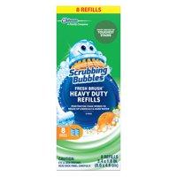Scrubbing Bubbles Fresh Brush Toilet Cleaning System, Heavy Duty, Refill, 8 ct