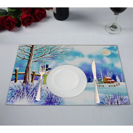 YKCG Christmas Snowman under Tree Winter Snow Scene Placemats Size 12x18 inches,Set of 2
