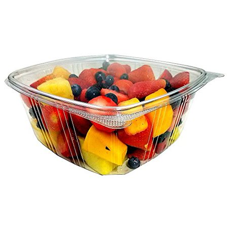 Koda Cup 64 oz. (Gallon-Size) RPET Clear Plastic Hinged Lid Deli Meal Prep Fruit Salad Display Food Storage Containers 100% BPA Free (Pack of - Plastic Food Display