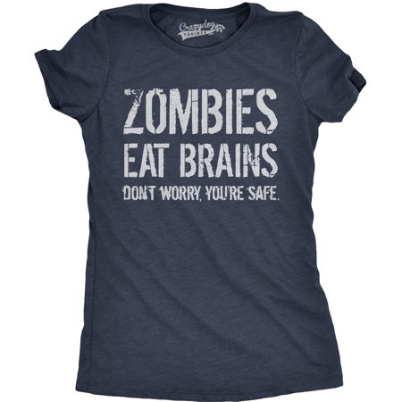 Jello Brains Halloween (Womens Zombies Eat Brains So You're Safe Funny T Shirt Halloween Living Dead)
