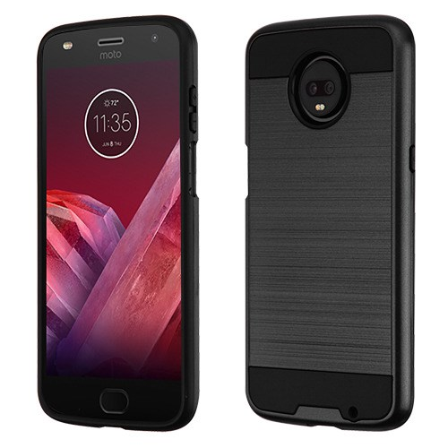 Heavy Duty Case for Motorola Moto Z3, Z3 Play Slim Anti-Scratch Case [Metal Brushed Design] Dual Layer Shock Absorption Anti-Fingerprint Full Protective Bumper Cover Black