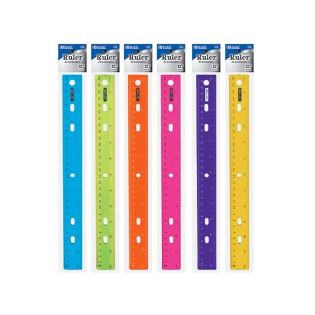 Bazic Products 322-288 BAZIC 12 inch - 30cm Jeweltones Color Ruler Case of 288