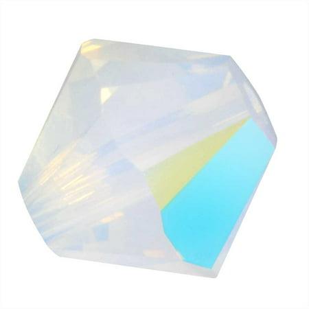 Swarovski Crystal, #5328 Bicone Beads 4mm, 24 Pieces, White Opal Shimmer Olivine Swarovski Crystal Bicone Bead