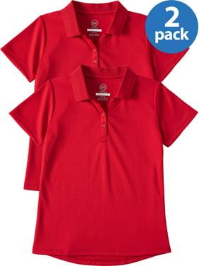 Wonder Nation Girls School Uniform Short Sleeve Performance Polo, 2-Pack Value Bundle (Little Girls & Big Girls)