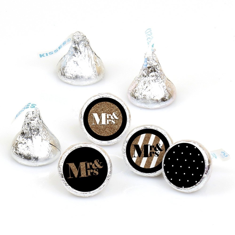 Mr. & Mrs. - Gold - Wedding Party Round Candy Sticker Favors  Labels Fit Hershey's Kisses (1 sheet of 108)