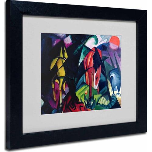 """Trademark Fine Art """"Horse and Eagle, 1912"""" Matted Framed Art by Franz Marc, Black Frame"""