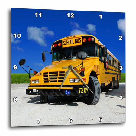 3dRose Yellow school bus on a sunny day, Wall Clock, 15 by -