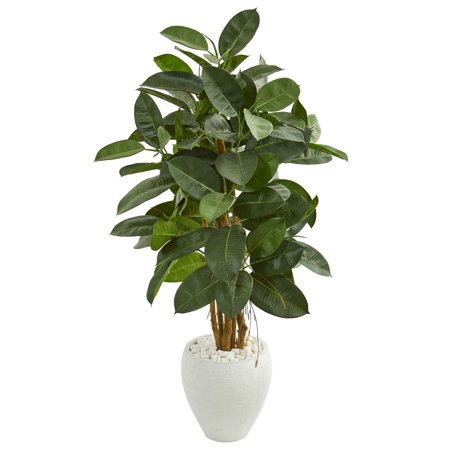 Nearly Natural 53-In. Artificial Rubber Tree in White Planter