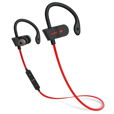 Wireless Bluetooth 5.0 Earphone Earbuds Sport Bass Stereo Surround In-Ear Headphone Headset with MIC Microphone Red