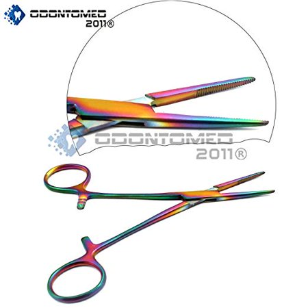 OdontoMed2011® Premium Ultimate Hemostat Forcep 1 Piece Ideal For Hobby Tools, Electronics, Fishing! Multi Rainbow Color Multi Colour Forceps ODM ()