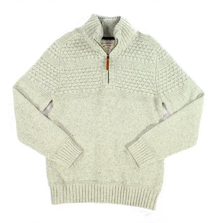 Mens Medium 1/2 Zip Wool Crochet Sweater $100 M