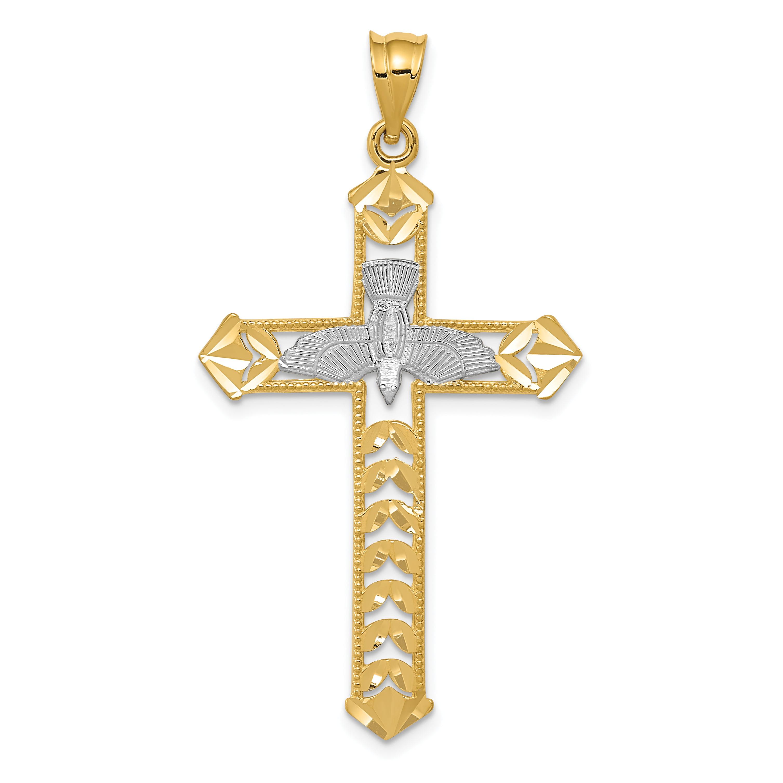 14k White And Yellow Gold Cross Religious Pendant Charm