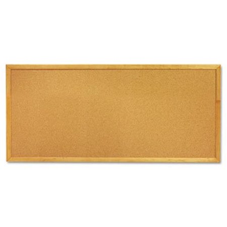 Slim Line Bulletin Board, Natural Cork-Fiberboard, 12 x 36, Oak Frame 1/2' Fiberboard Bulletin Board Sheet
