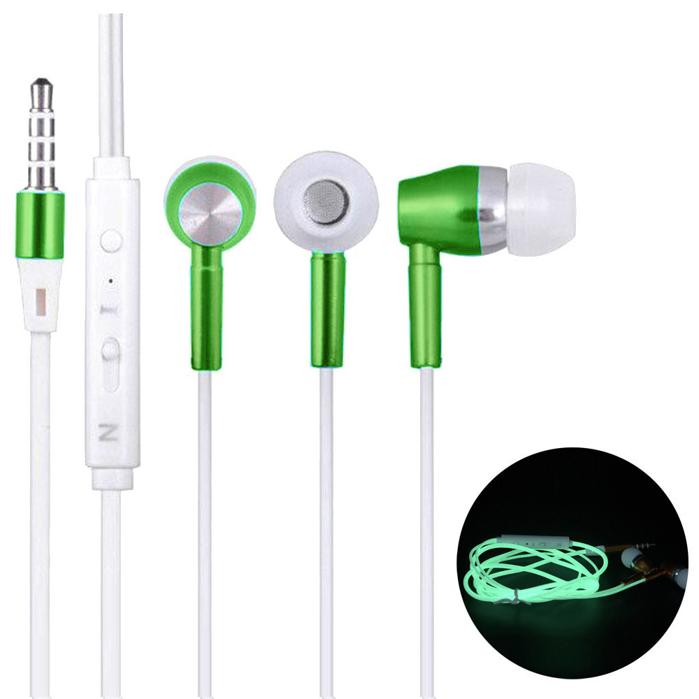 3.5mm In ear Stereo Luminous Headphone Headset Super Bass Music Earphone Earbuds