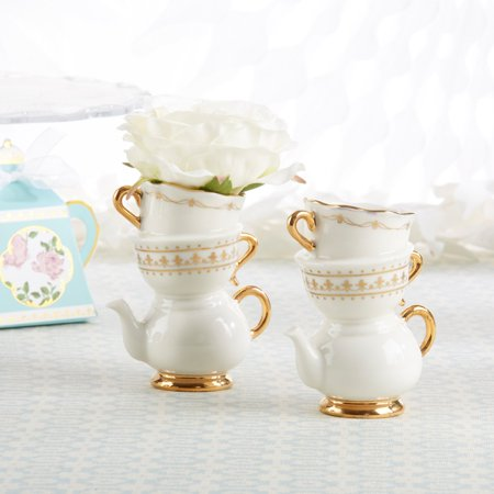 Kate Aspen Tea Time Whimsy Ceramic Bud Vase - Set of 2