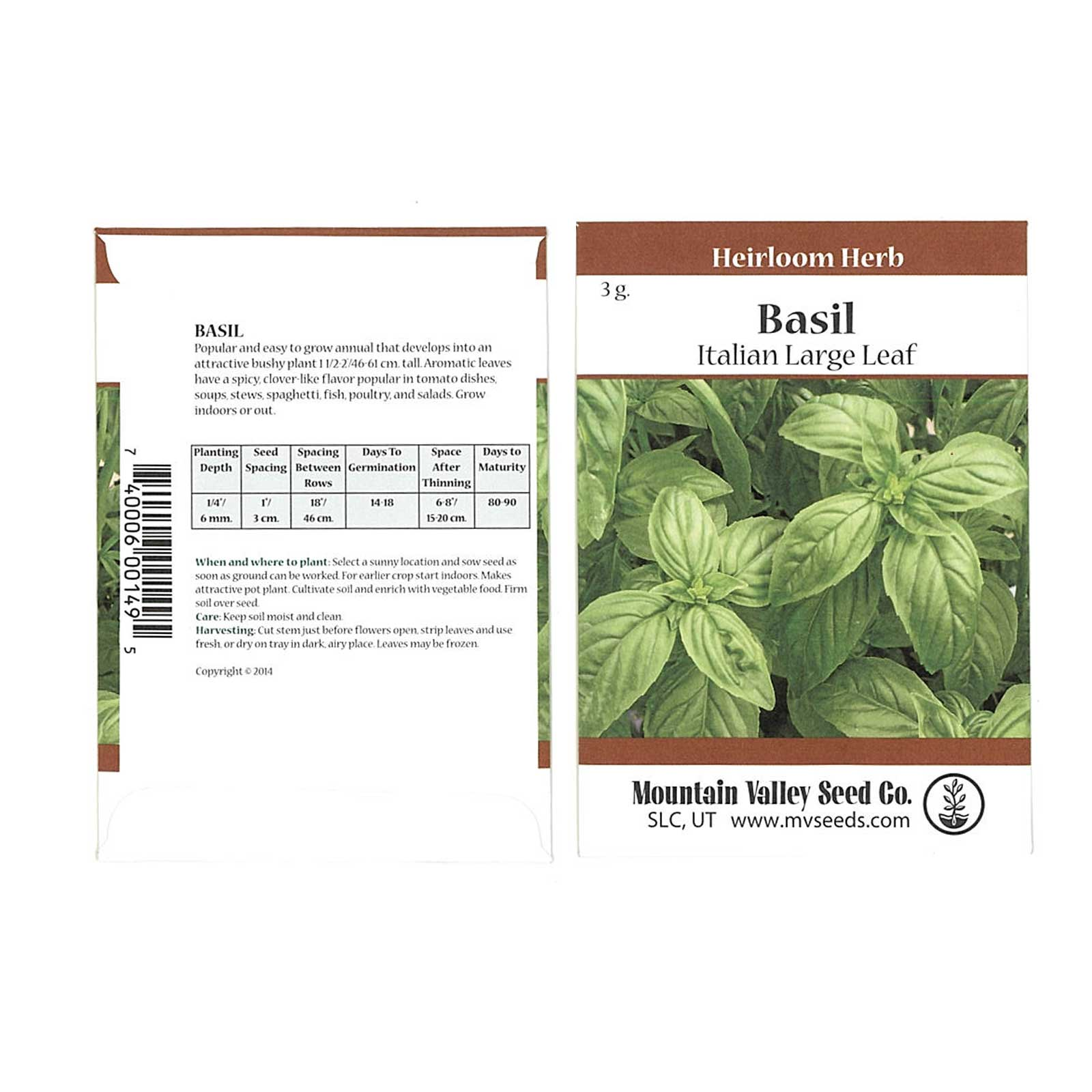 Basil Herb Garden Seeds - Italian Large Leaf - 3 Gram Packet: Approx 2000 Seeds - Non-GMO, Heirloom - Culinary Herb Gardening
