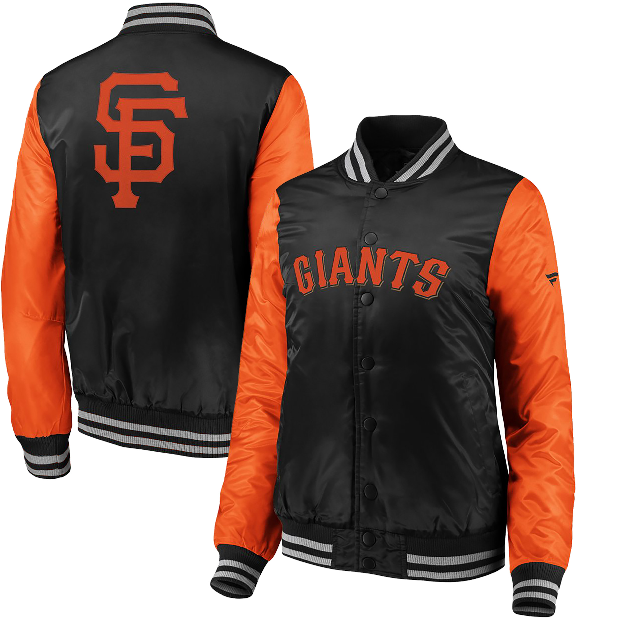 San Francisco Giants Fanatics Branded Women's Iconic Satin Jacket - Black/Orange