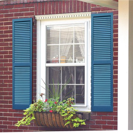 awc exterior window shutters louvered pair. Black Bedroom Furniture Sets. Home Design Ideas
