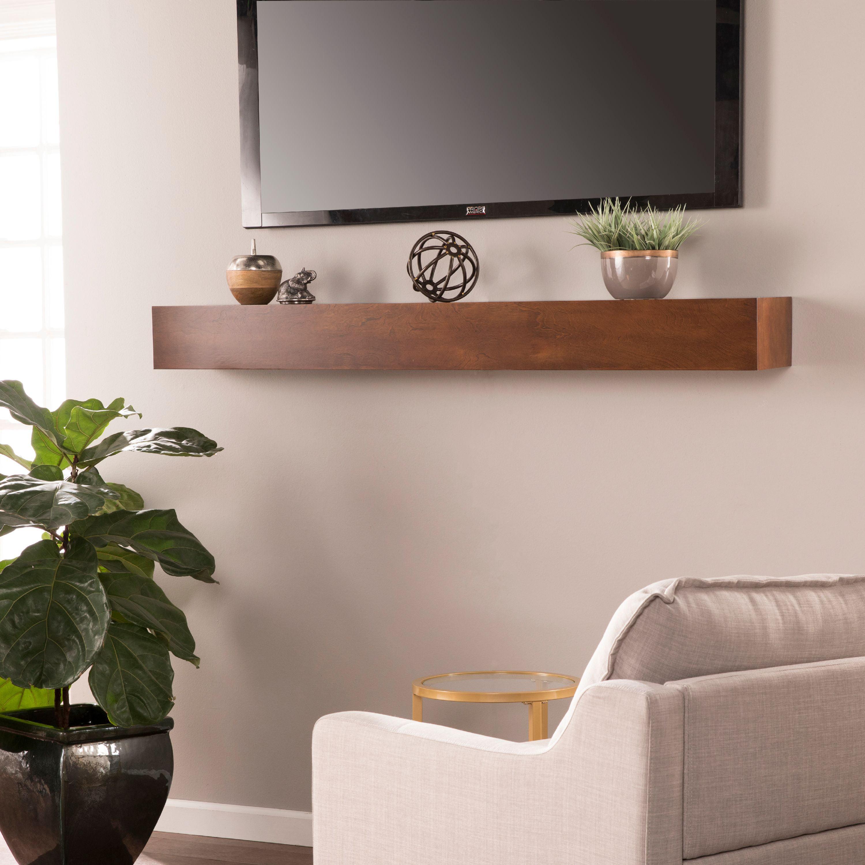 Southern Enterprises Anibera Floating Mantel Wall Shelf, Transitional Style, Whiskey Maple