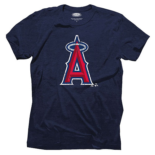 Men's Majestic Threads Navy Los Angeles Angels Tri-Blend Logo T-Shirt