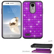 Phone Case for  LG Rebel 3 L157BL, L158VL (Tracfone ) LV3 Crystal-Dual-Layered Rugged Cover ( Crystal Purple with Black)