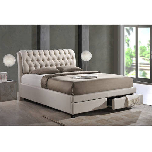Baxton Studio Ainge Contemporary Button-Tufted Light Beige Fabric Upholstered Storage Queen-Size Bed with 2 Drawers