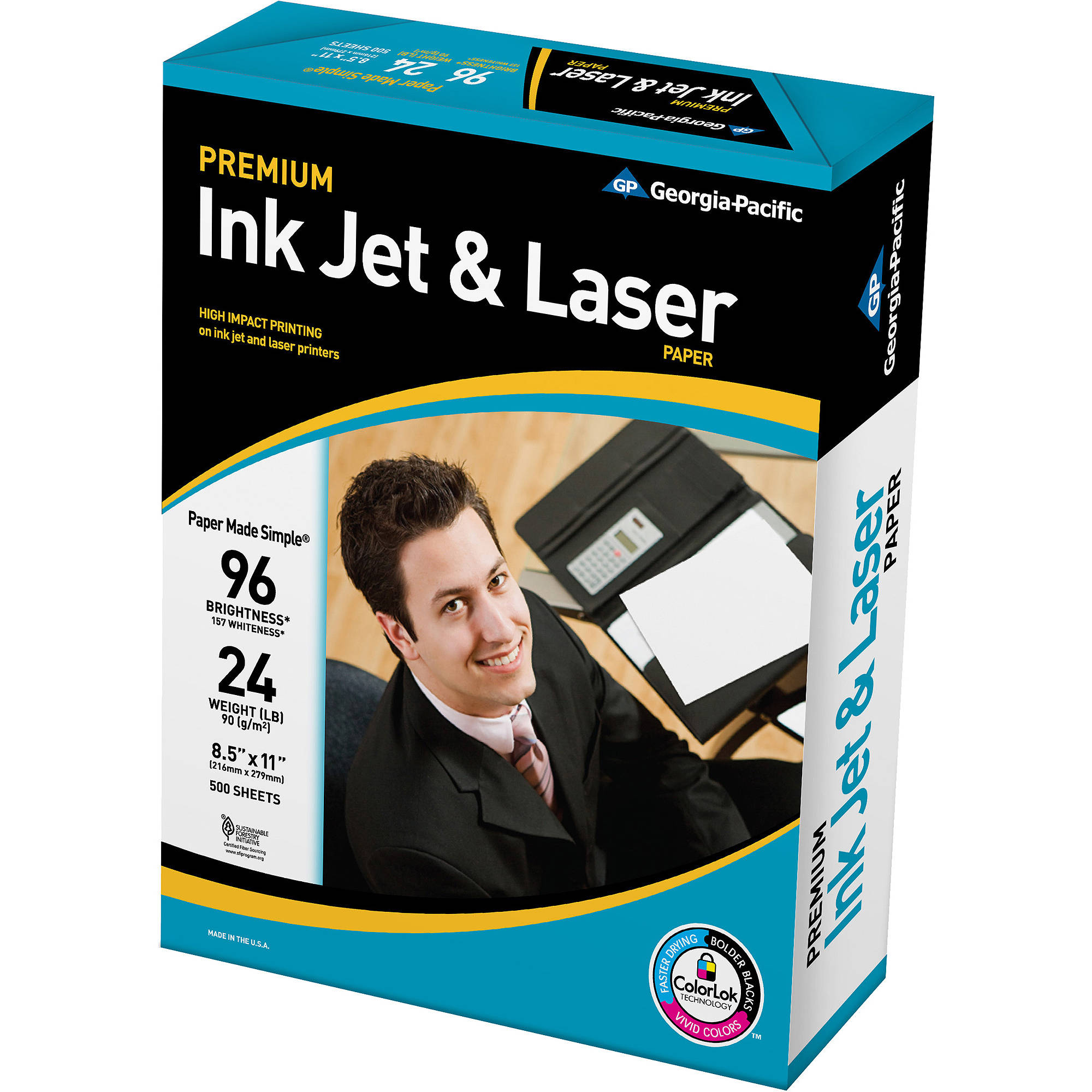 Georgia-Pacific Premium Bright Inkjet & Laser Paper, 8.5 x 11, 24 lb., 96 Brightness, 500 Sheets