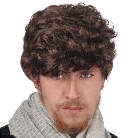 Loftus Men's Brown Medium Length Thick Curly Average Wig, Brown, One-Size](Curly Brown Wig)