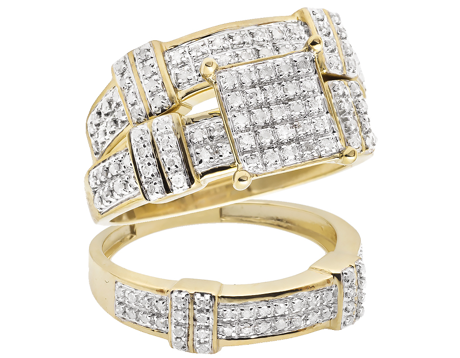 Ladies 10K Yellow Gold Real Diamonds Trio Ring Set .51ct by Jewelry Unlimited