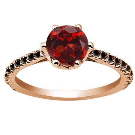 1 37 Ct Round Red Garnet Black Diamond 18K Rose Gold Engagement Ring