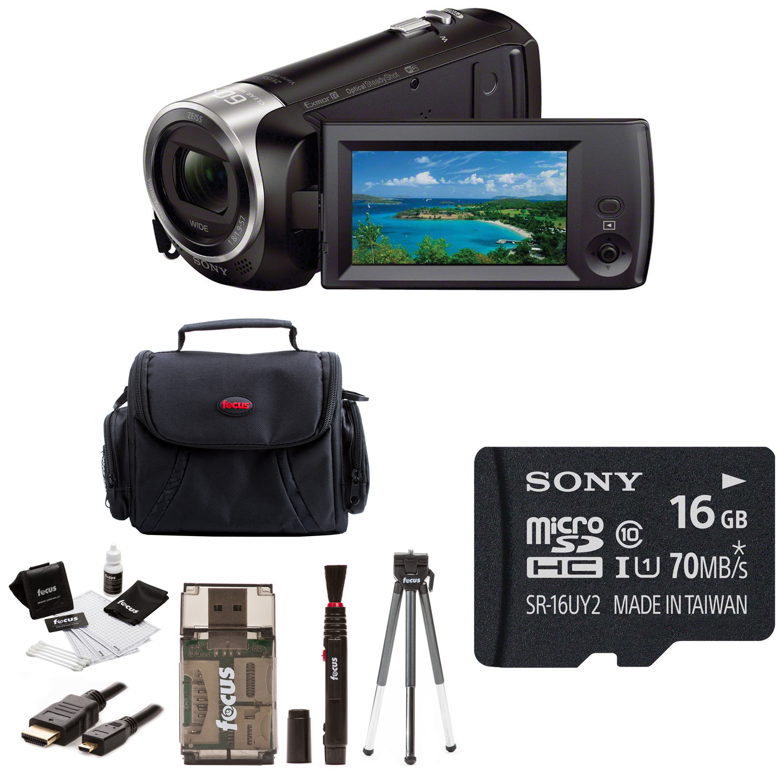 HDR-CX440/B (HDRCX440 HDRCX440B) Full HD 60pVideo Recording Handycam Camcorder with Sony 16GB Accessory Bundle