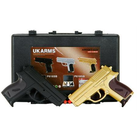 CYMA Dual P618 GOLD Tactical Spring Airsoft Hand Guns w CASE -
