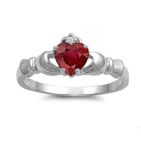 Sterling Silver Women's Flawless Simulated Ruby Cubic Zirconia Friendship Claddagh Heart Ring (Sizes 4-12) (Ring Size (July Birthstone Claddagh Ring)