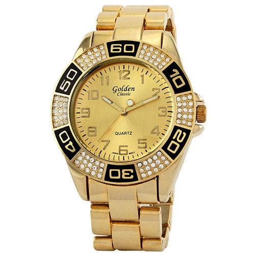Golden Classic Women's Boyfriend Rhinestone Watch in Gold