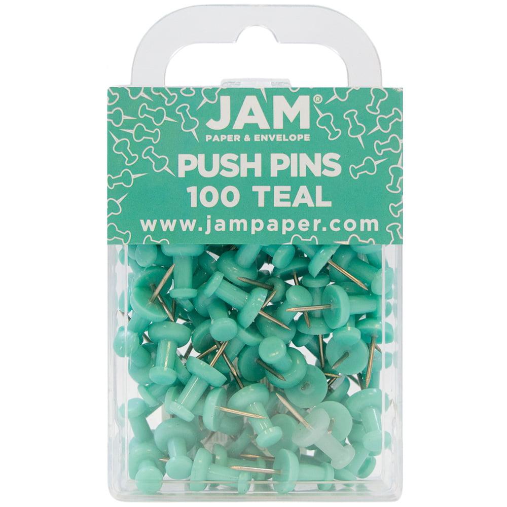 JAM Paper® Push Pins - Teal PushPins - 100/Pack