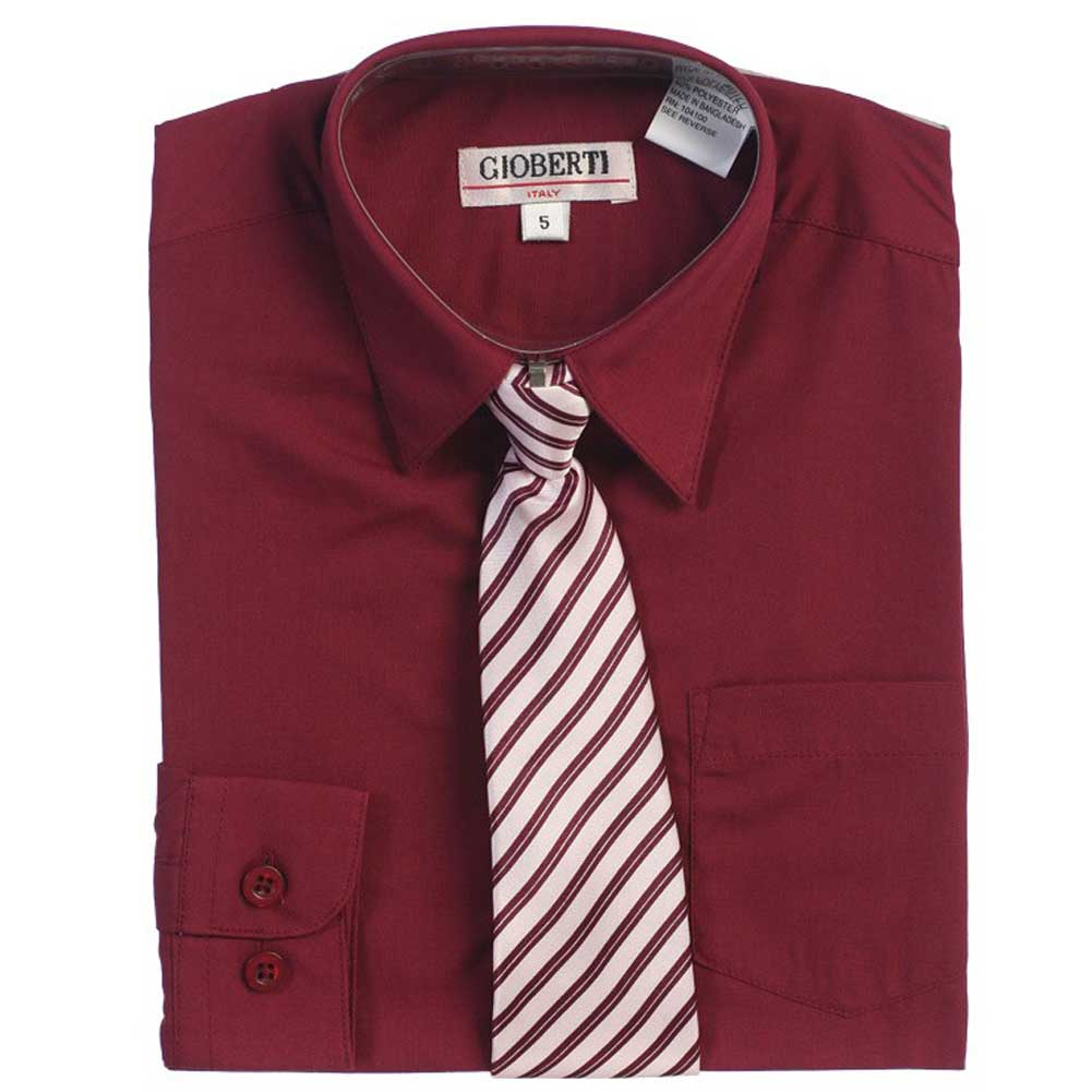 Burgundy Button Up Dress Shirt Gray Striped Tie Set Boys 5-18