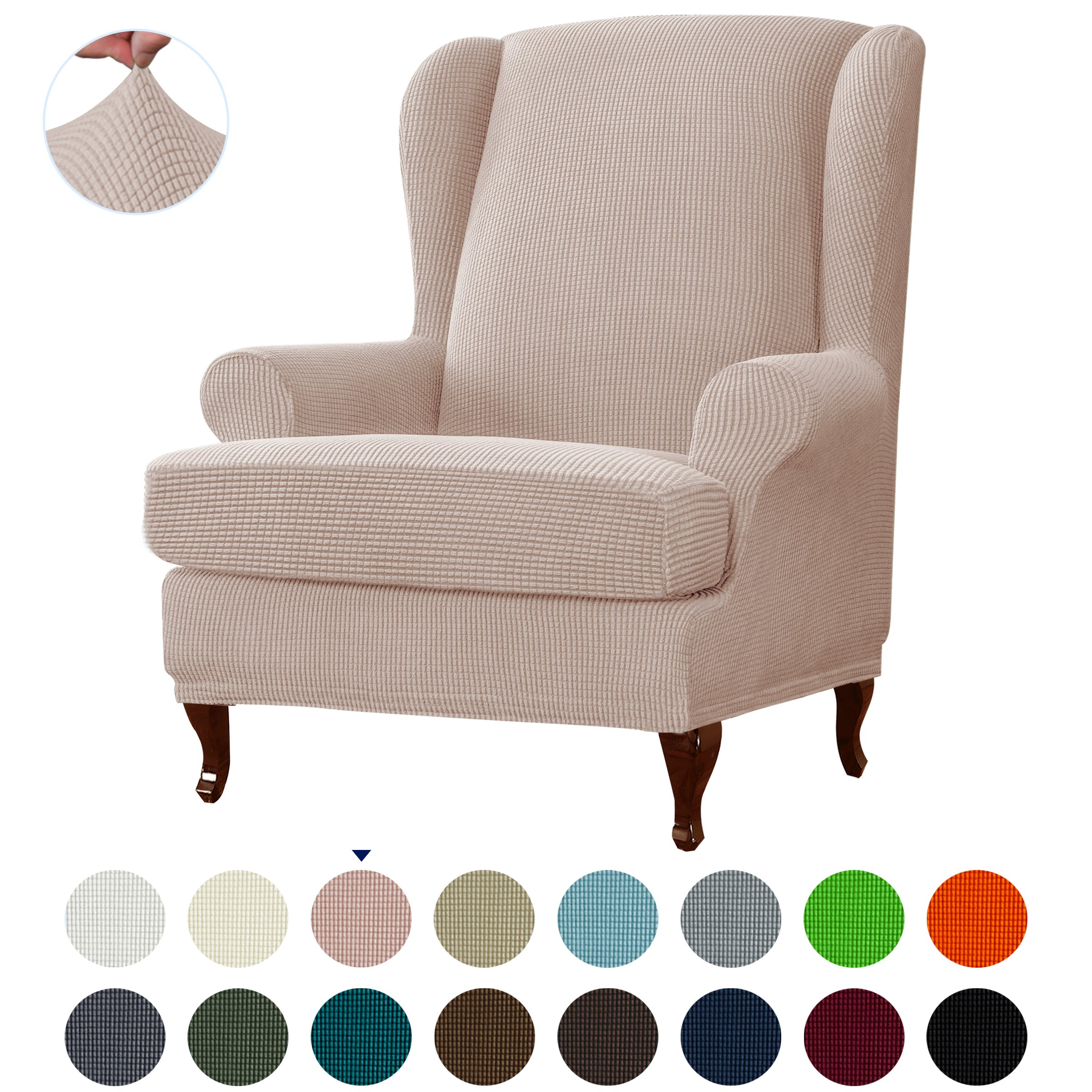 Picture of: Subtrex Stretch 2 Piece Textured Grid Wingback Chair Slipcover Sand Walmart Com Walmart Com