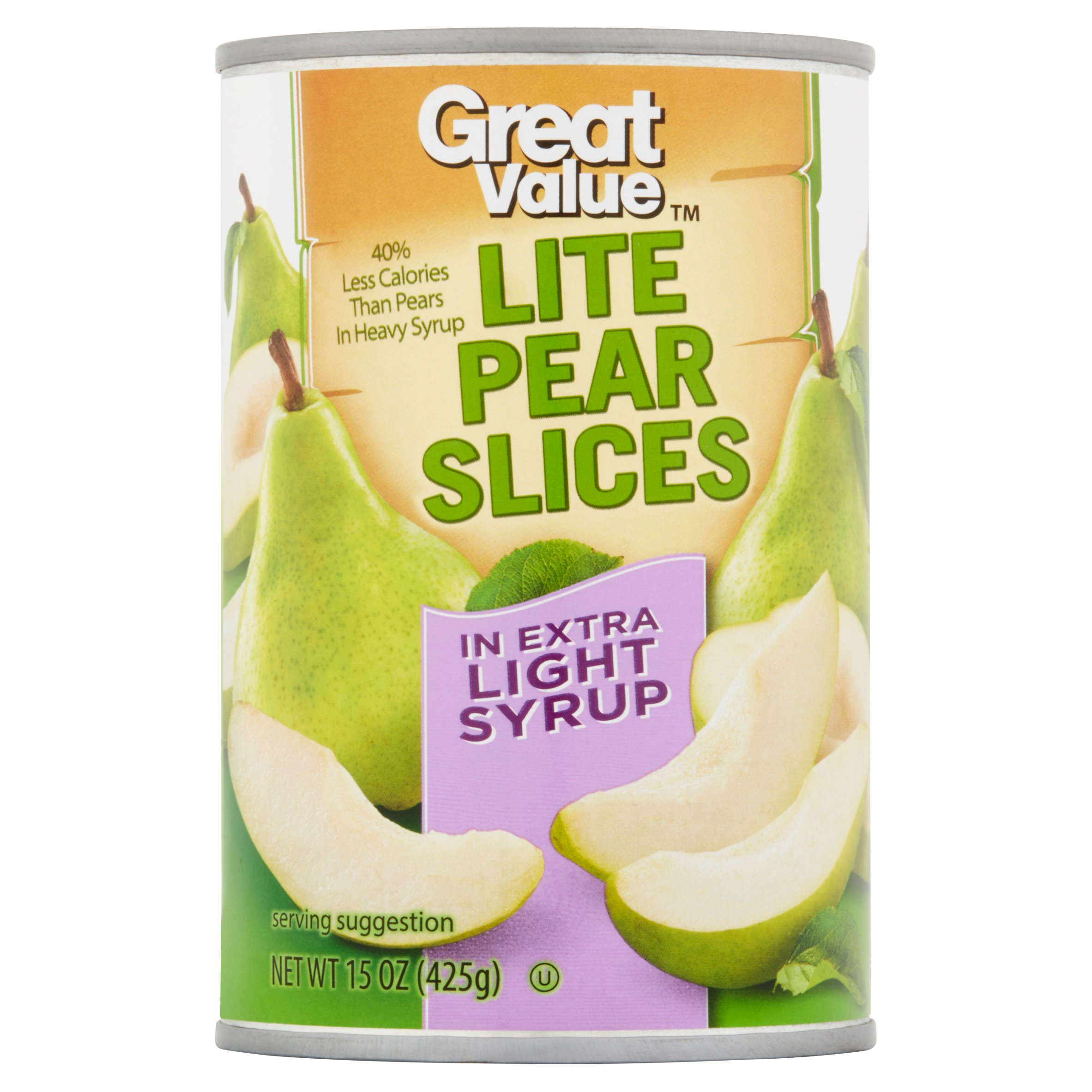 (4 Pack) Great Value Lite Pear Slices In Extra Light Syrup, 15 Oz