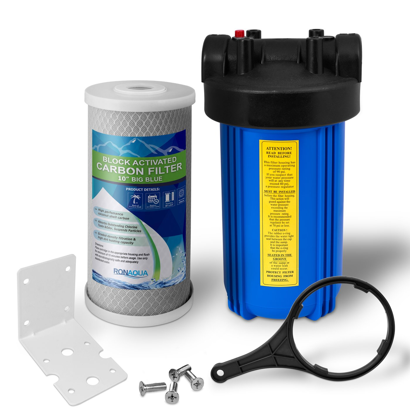 "10"" Big Blue Whole House Water Filter with Carbon Block Water Filter"