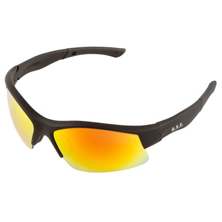 ERB Safety 18013 Breakout™ ONE Nation Retail Ready Safety Glasses Black Frames Red Mirror Lens ()